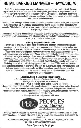 Retail Banking Manager, Peoples Bank Midwest - Hayward, Hayward, WI