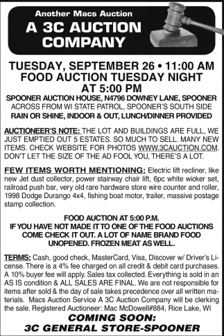 Food Auction Tuesday Night