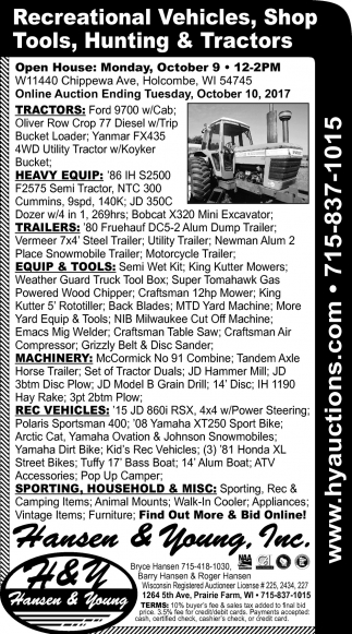 Recreational Vehicles, Shop Tools, Hunting & Tractors