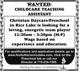 Childcare Teaching Assistant