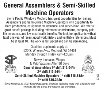 General Assemblers & Semi-Skilled Machine Operators