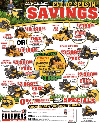 Cub Cadet end of Season Savings
