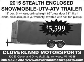 2015 Stealth Enclosed Snowmobile, UTV, ATV, Trailer