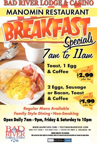 Manomin Restaurant Breakfast Specials