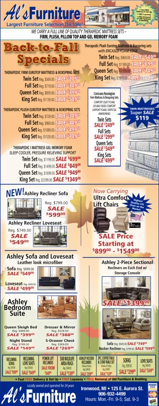 Back to Fall Specials