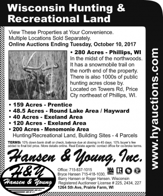 Wisconsin Hunting & Recreational Land