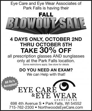 Fall Blowout Sale
