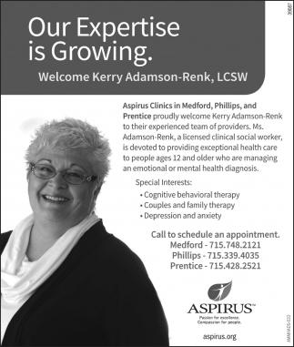 Welcome Kerry Adamson-Renk, LCSW
