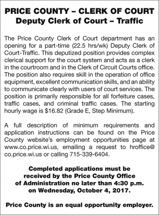 Deputy Clerk of Court Traffic