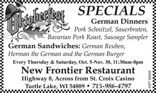 Specials German Dinners New Frontier Restaurant Turtle