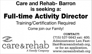 Activity Director Barron Care And Rehab Barron Wi