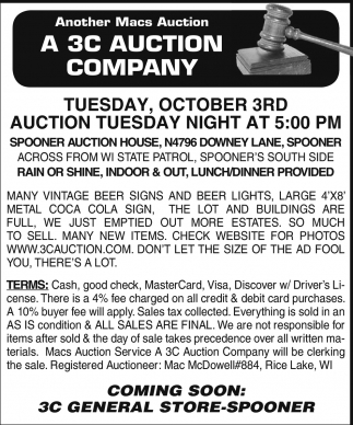 Auction Tuesday Night at 5:00 pm