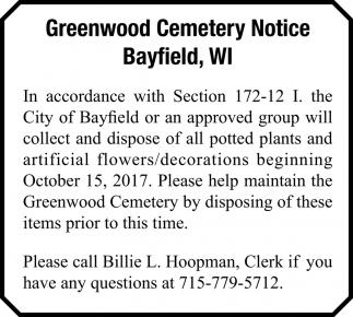 Greenwood Cemetery Notice
