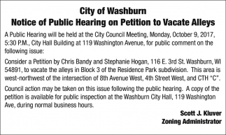 Notice of Public Hearing on Petition to Vacate Alleys
