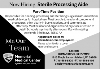 Sterile Processing Aide