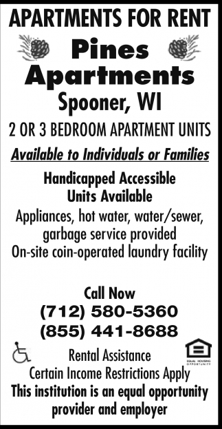 Ads For Pines Apartments In Spooner, WI