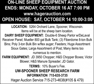On-Line Sheep Equipment Auction, Hager Auction, Ellsworth, WI