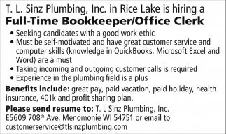 Bookkeeper / Office Clerk