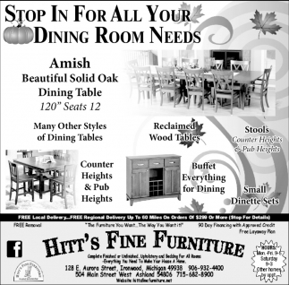 Stop in for all your dining room needs