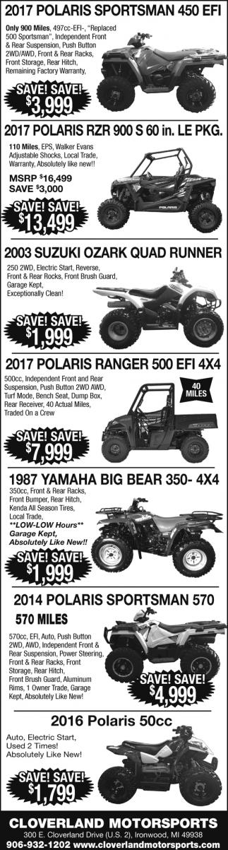 Polaris, Yamaha, Suzuki
