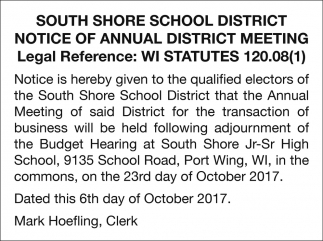 Notice of Annual District Meeting