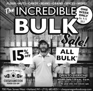 The Incredible Bulk Sale!