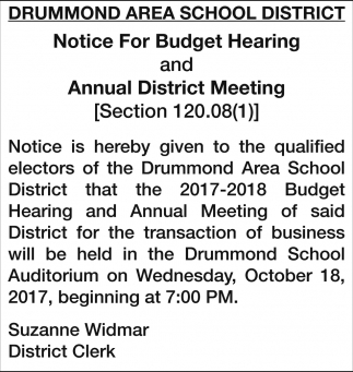 Notice for Budget Hearing/Annual District Meeting