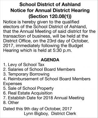 Notice for Annual District Hearing