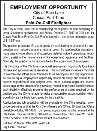 Paid On Call Firefighter