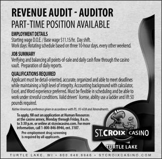 Revenue Audit - Auditor