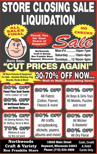 Store Closing Sale Liquidation, Northwoods Craft & Variety