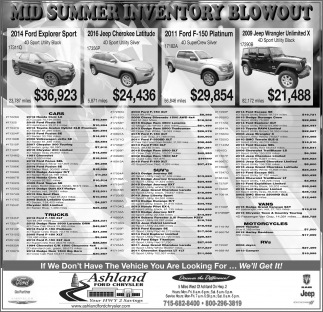 MID SUMMER INVENTORY BLOWOUT