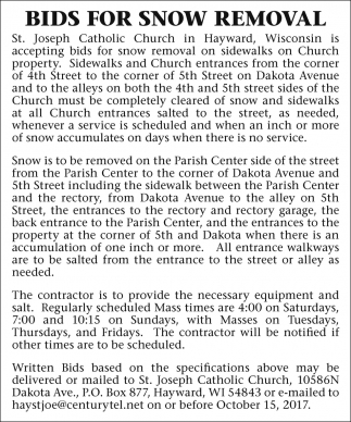 Bids for Snow Removal