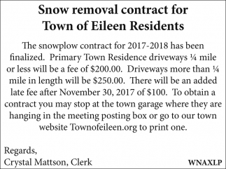 Snow removal contract