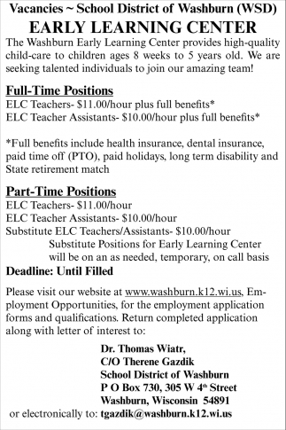 Early Learning Center, School District of Washburn, Washburn, WI