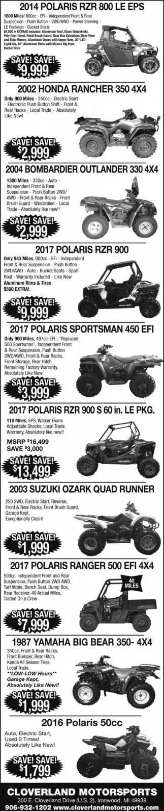 Polaris, Honda, Bombardier, Suzuki, Yamaha