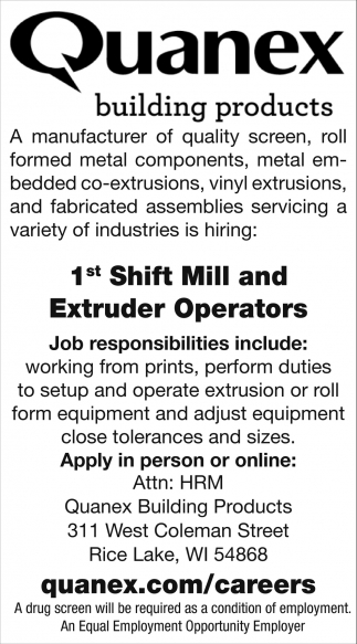 Mill and Extruder Operators