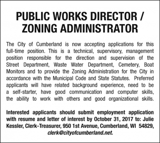 Public Works Director / Zoning Administrator