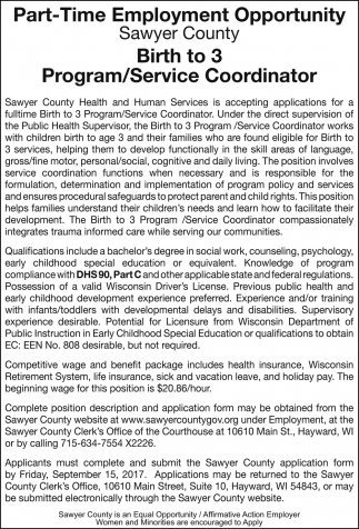 Birth to 3 Program / Service Coordinator
