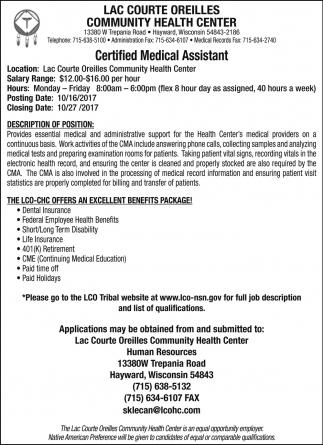 Certified Medical Assistant, Lac Courte Oreilles Community Health ...