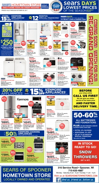 Sears Days Lowest Prices of The Season