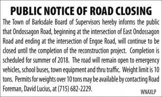 Notice of Road Closing