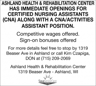 Certified nursing assistants cna ashland health and ads for ashland health rehabilitation center in ashland wi xflitez Image collections