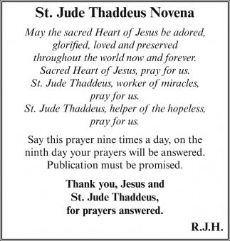 Novena prayers answered