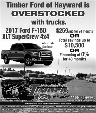 Overstocked with Trucks, Timber Ford of Hayward, Hayward, WI