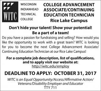 College Advancement Associate/Continuing Education Technician