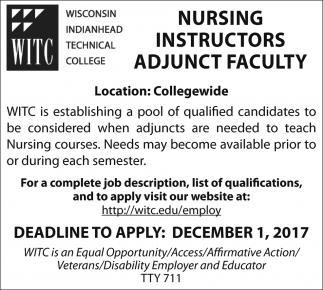 Nursing Instructors Adjunct Faculty