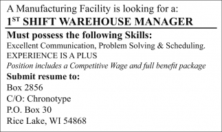 1st Shift Warehouse Manager