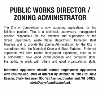 resume Public Works Director Resume works director zoning administrator city of cumberland public wi
