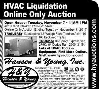 HVAC Liquidation Online Only Auction